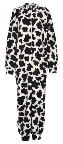 Cow pattern fleece onesie and all-in-one