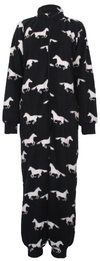 White horse on black background pattern fleece onesie and all-in-one