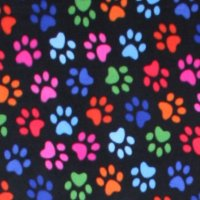 Photo of Black Multi Paw fleece fabric