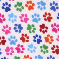 Photo of White Multi Paw fleece fabric