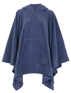 Navy Fleece Poncho With Hood