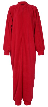 Red fleece onesie and all-in-one