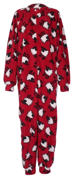 Red sheep pattern fleece onesie and all-in-one