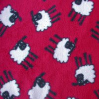 red sheep fleece swatch