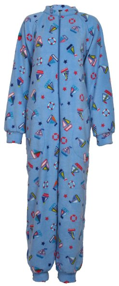 Sailing pattern fleece onesie and all-in-one