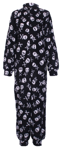 Front photo of skull n crossbones Fleece Onesie and All-in-one