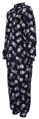 Side photo of skull n crossbones Fleece Onesie and All-in-one