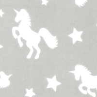 Photo of Grey Unicorn fleece fabric