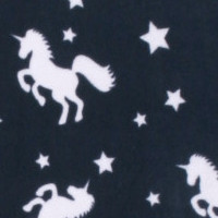 Photo of Navy Unicorn fleece fabric