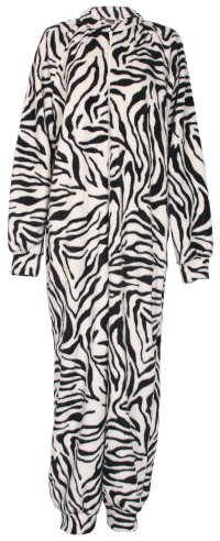Zebra pattern fleece onesie and all-in-one